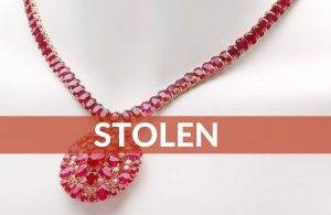 Stolen – Rubies! Ruby and Diamond Pendant With Ruby Tennis Bracelet Necklace
