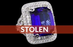 Stolen – Rectangular Cushion Cut Tanzanite, Encrusted With Baguette Diamonds In White Gold, Huge